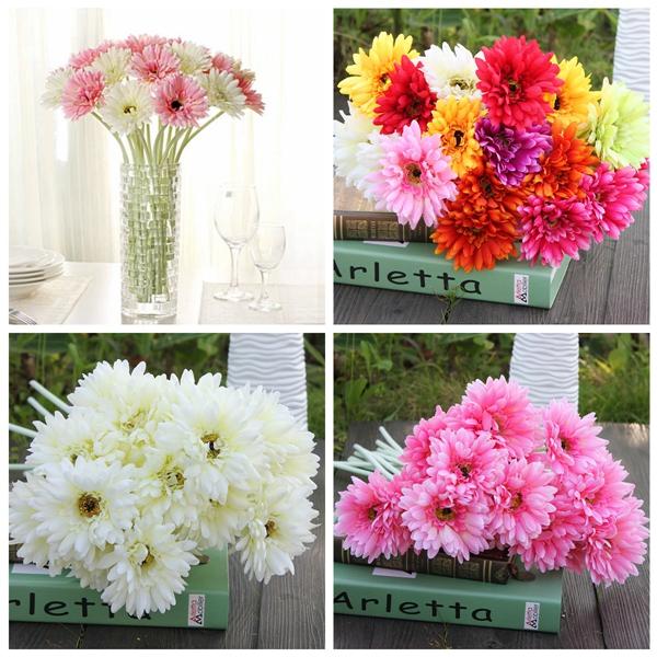 10Pcs Sunbeam Artificial Flowers Gerber Daisy Bridal Bouquet Silk Wedding Party Flowers