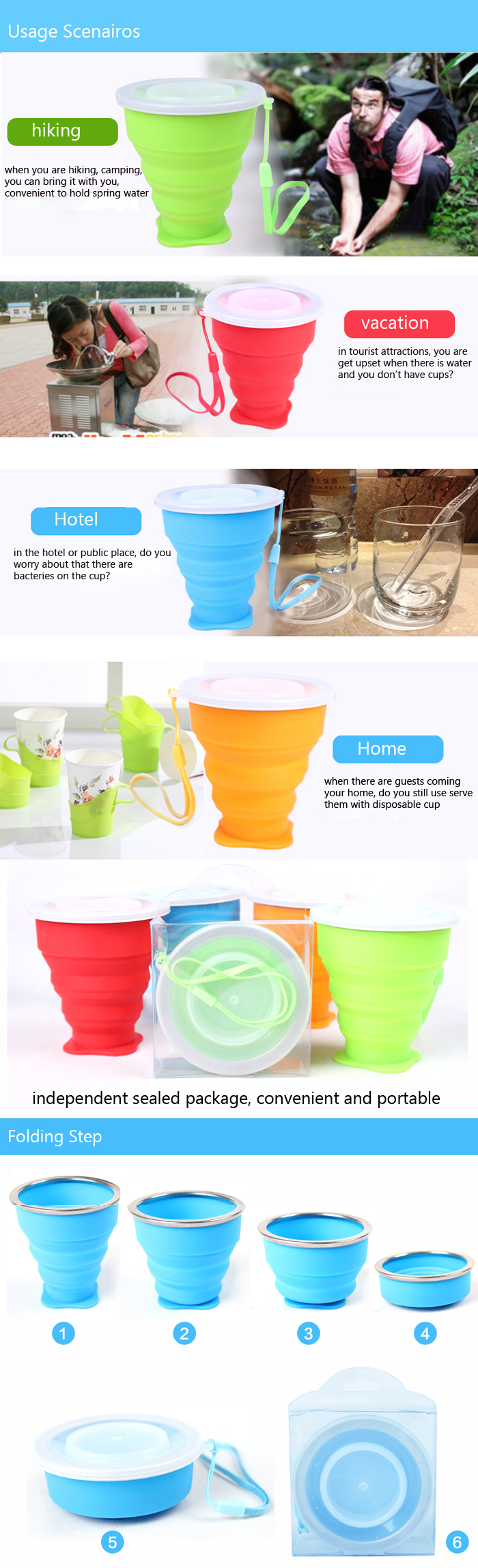 Outdoor Travel Silicone Folding Cup Sport Hiking Camping Collapsible Silicone Water Cup With Strip