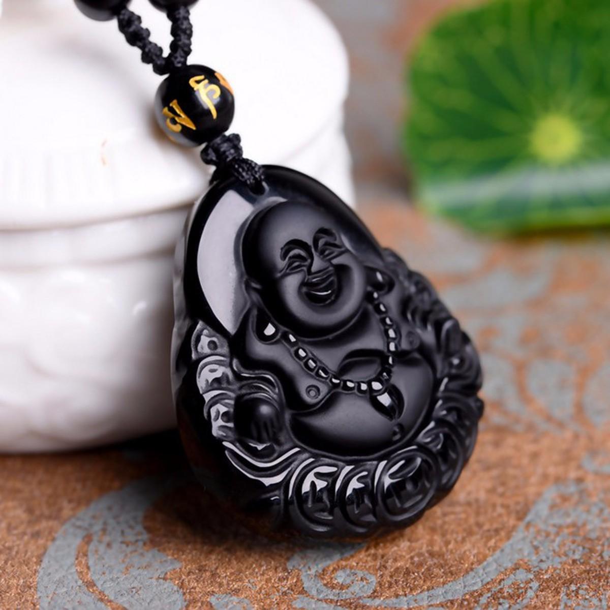 Black Obsidian Buddha Pendant Lucky Luck Beads Prayer Necklace Chain