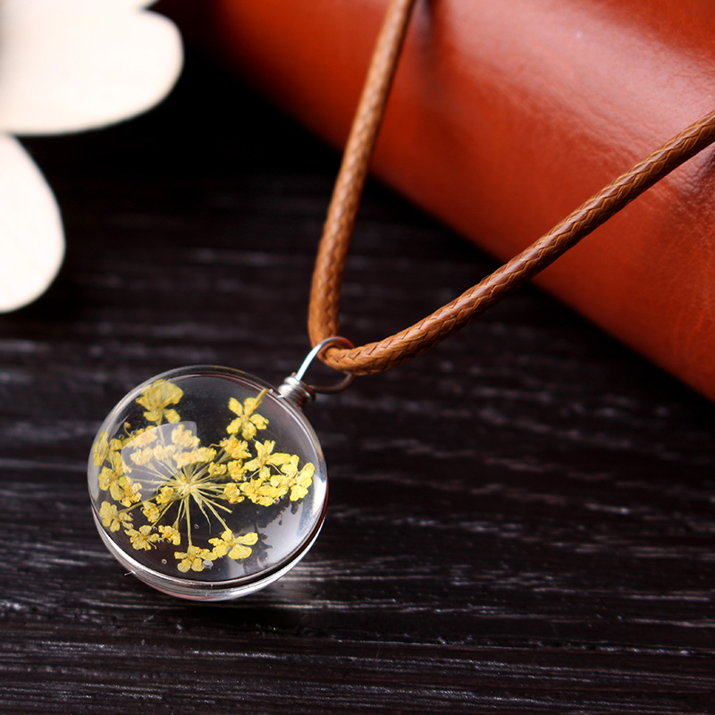 Flowers Artificial Crystal Ball Pendant Wax Rope Clavicle Colliers