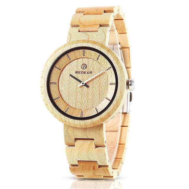 REDEAR SJ1628 Simple Design Unisex Wood Wrist Watch Woo