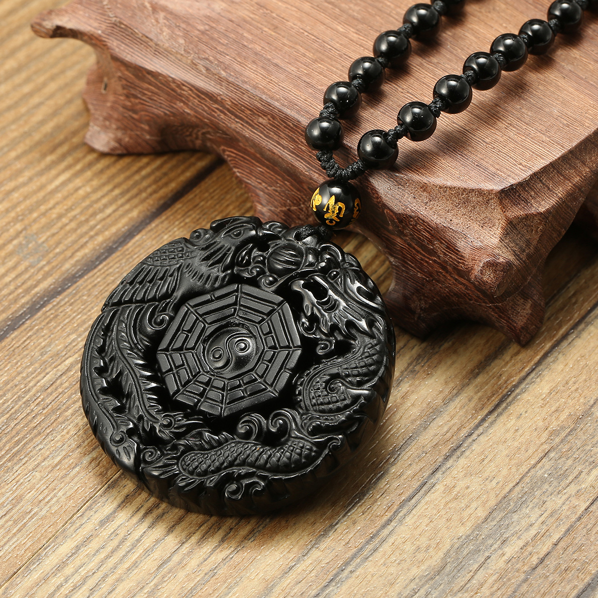 Black Obsidian Lucky Pendant Tai Chi Necklace Chain For Men Women Gift