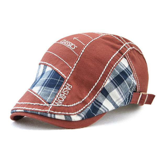 Mens Embroidery Striped Cotton Beret Hat Buckle Adjustable Newsboy Cabbie Golf Gentleman Cap