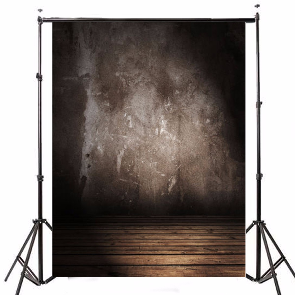 5x7FT Vinyl Retro Gray Wall Photography Background Wood Floor Backdrop Props
