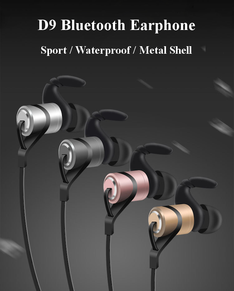 D9 In-ear Sport Waterproof Sweatproof Magnetic Absorption Voice Prompt V4.1 Bluetooth Earphone