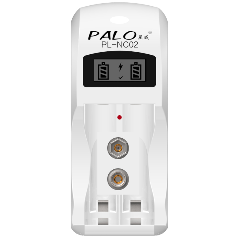 Palo C902 2 Slots Nimh Nicd Battery Charger for AA AAA 9V 6F22 Battery with LCD Display