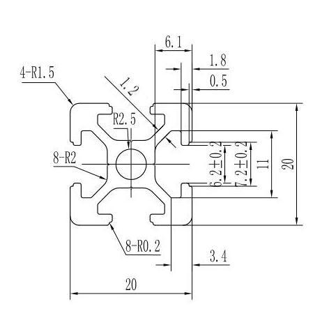 400mm Length 2020 T-Slot Aluminum Profile Extrusion Frame for CNC