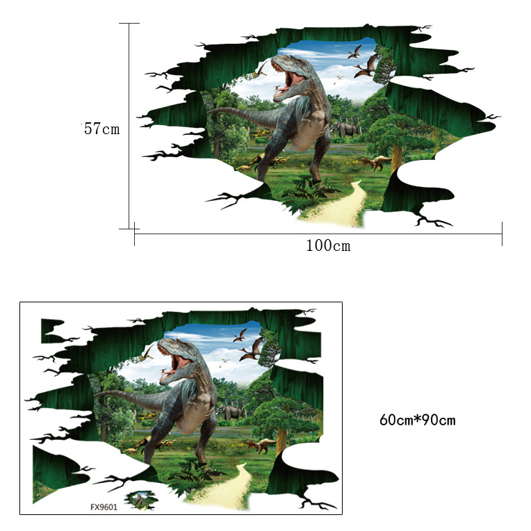 MIICO Creative 3D Dinosaur Waterproof Removable Home Room Decorative Wall Door Decor Sticker