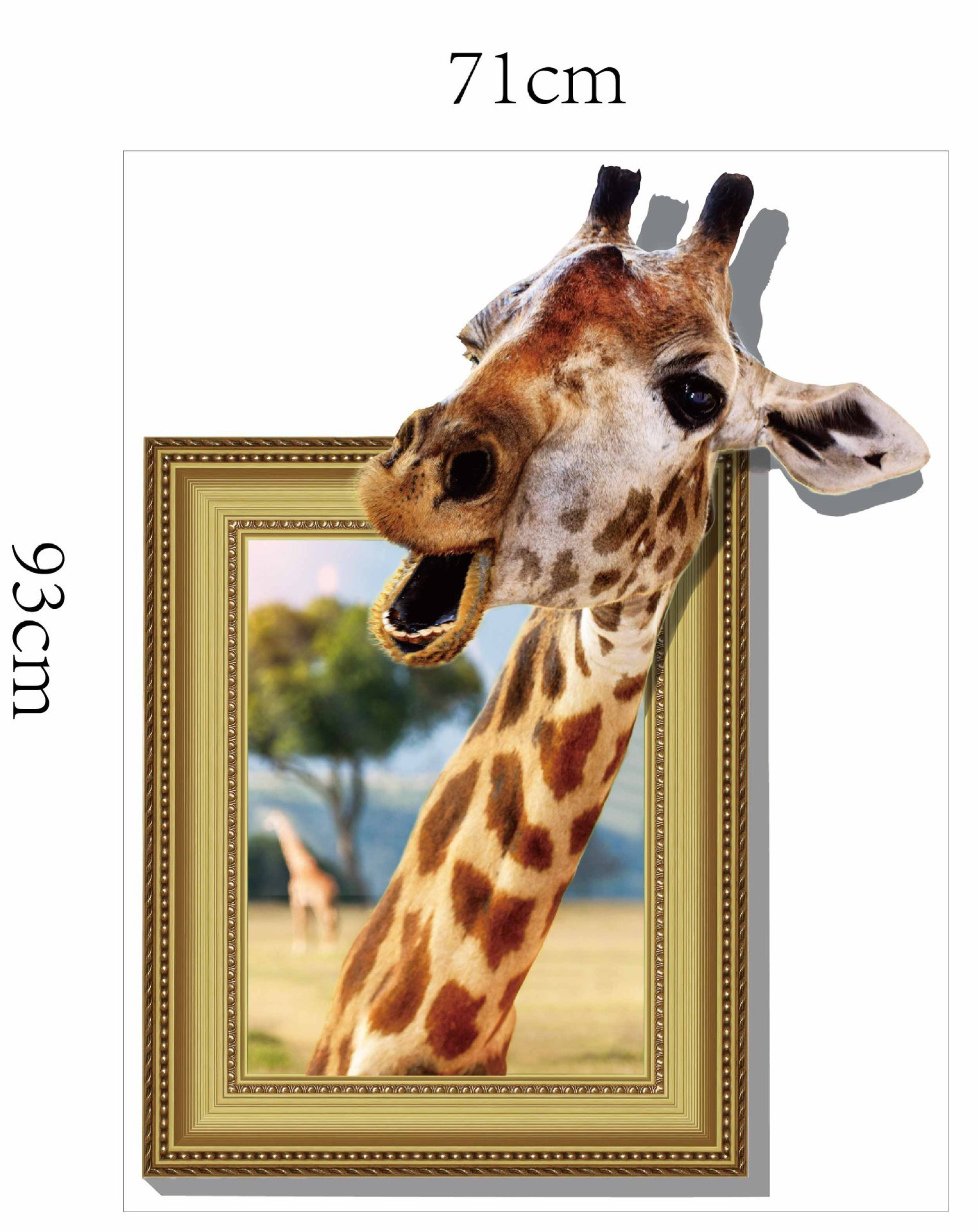 MIICO Creative 3D Animal Giraffe Removable Home Room Decorative Wall Door Decor Sticker