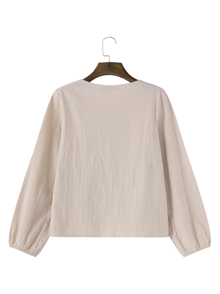 Loose Women Pure Color Long Sleeve Pocket Cotton Pullover Top