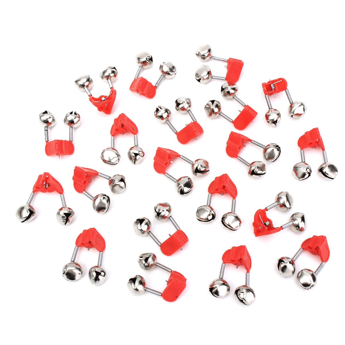20pcs Red Night Fishing Rod Clamp Tip Clip Metal Bell + Plastic Clip Ring Fish Bait Alarm Bells