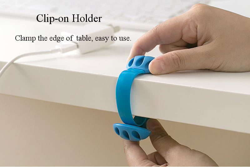 Universal Silicone Anti-skid Desktop Clip-on Cable Holder Organizer Winder Wire Mount Management