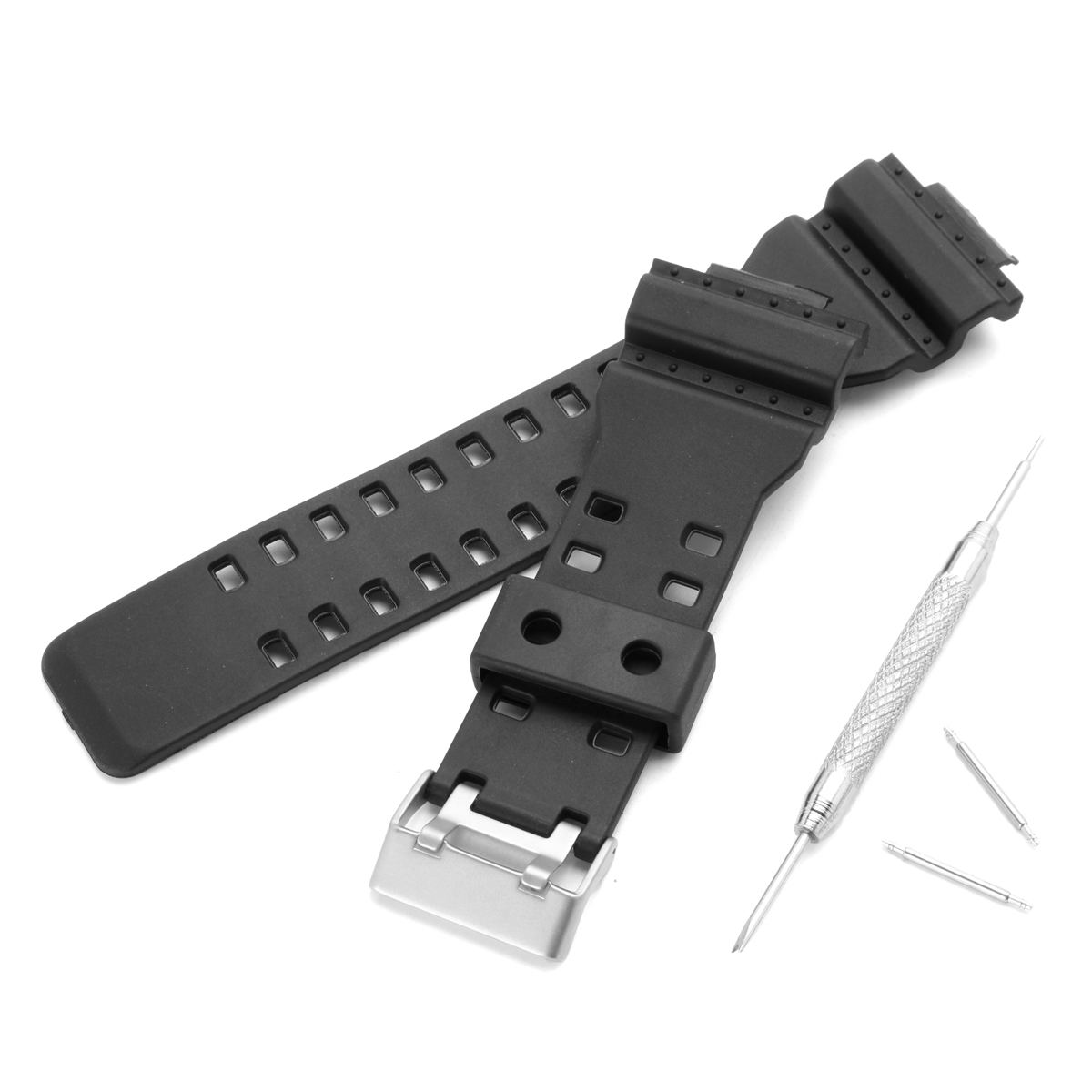 Replacement 16mm Rubber Black Watch Band for CASIO GA-1