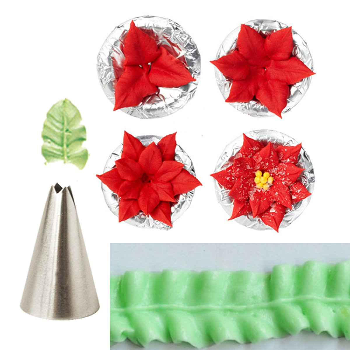 7pcs Leaf Cup Cake Decor Stainless Steel Icing Piping N