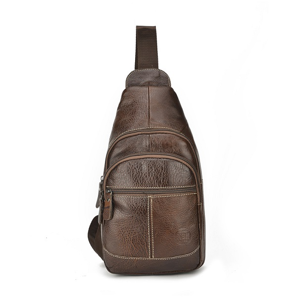 Men's Quality Genuine Leather Sport Casual Chest Bag Mini Crossbody Bag