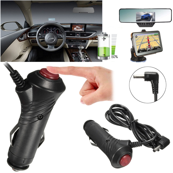 3.5mm Car Cigarette Lighter Power Plug Cord GPS DVR Adapter Cable w/ Switch DC 12V