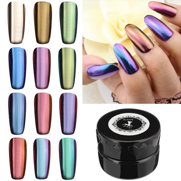 12 Colors Magic Mirror Chrome Effect Metallic Powder Se