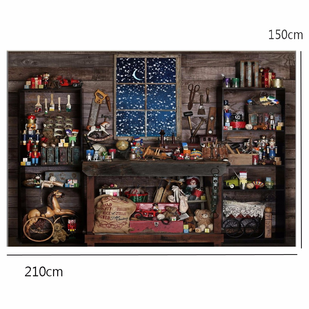 7x5FT Christmas Theme Small Shop Gift Doll Tools Wooden Window Photography