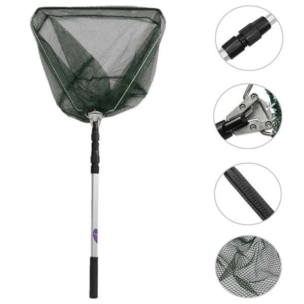 Portable Triangular Folding Fishing Landing Net 3 Secti