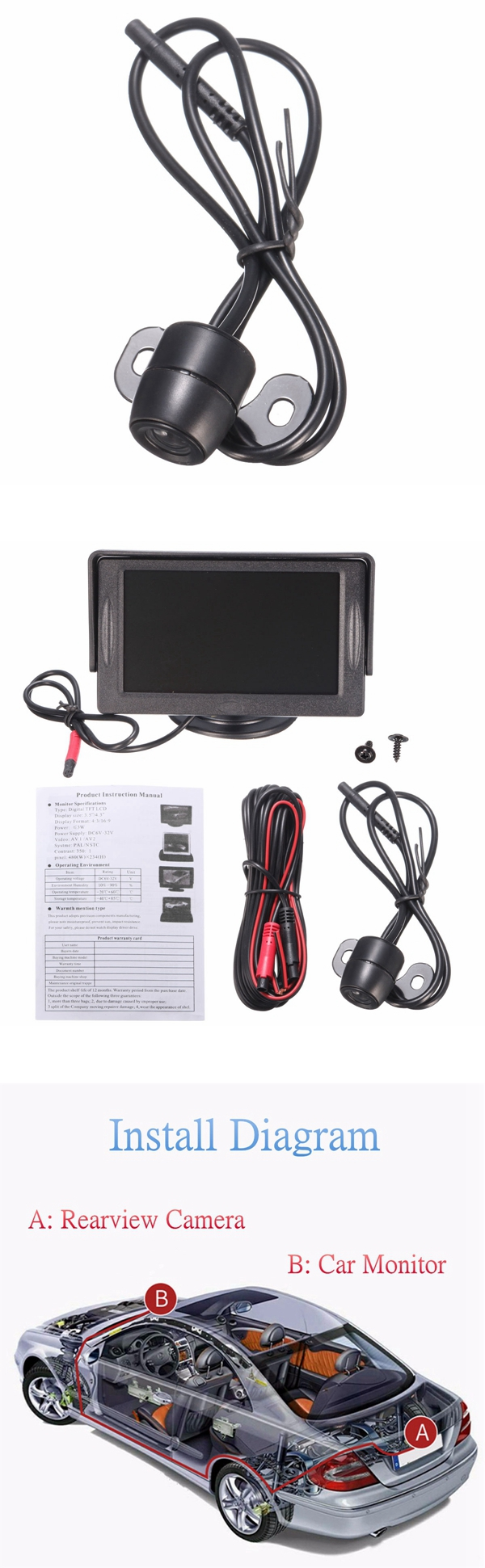 4.3 inch Car TFT LCD Monitor Reversing Parking Rearview Camera Recording VCR Sunshade Kit