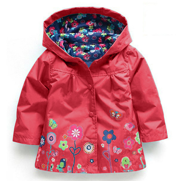 Kid Girls Floral Printed Full Sleeve Hooded Waterproof Trench Coat