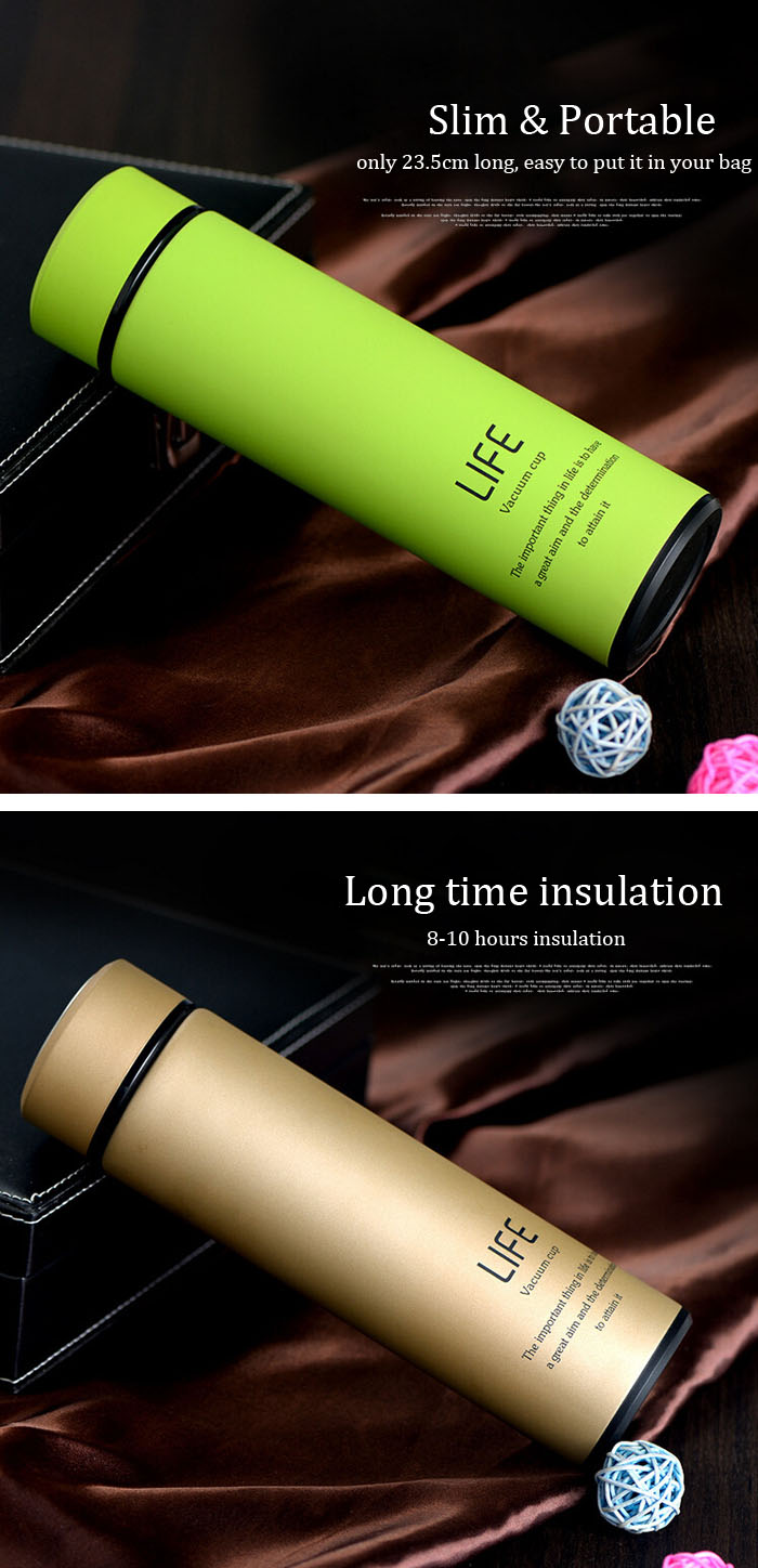 500ml Fashional Stainless Steel Travel Mug Thermos Vacuum Flask Cup Bottle Gift