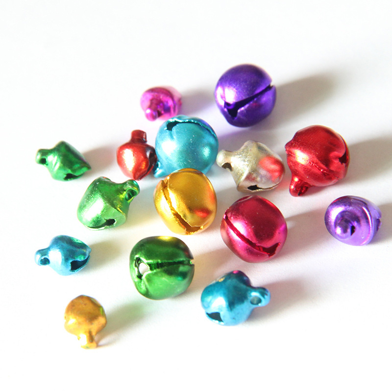 100PCS Christmas 6/8/10mm Jingle Bells Iron Loose Beads Small for Festival Party Decoration Christma