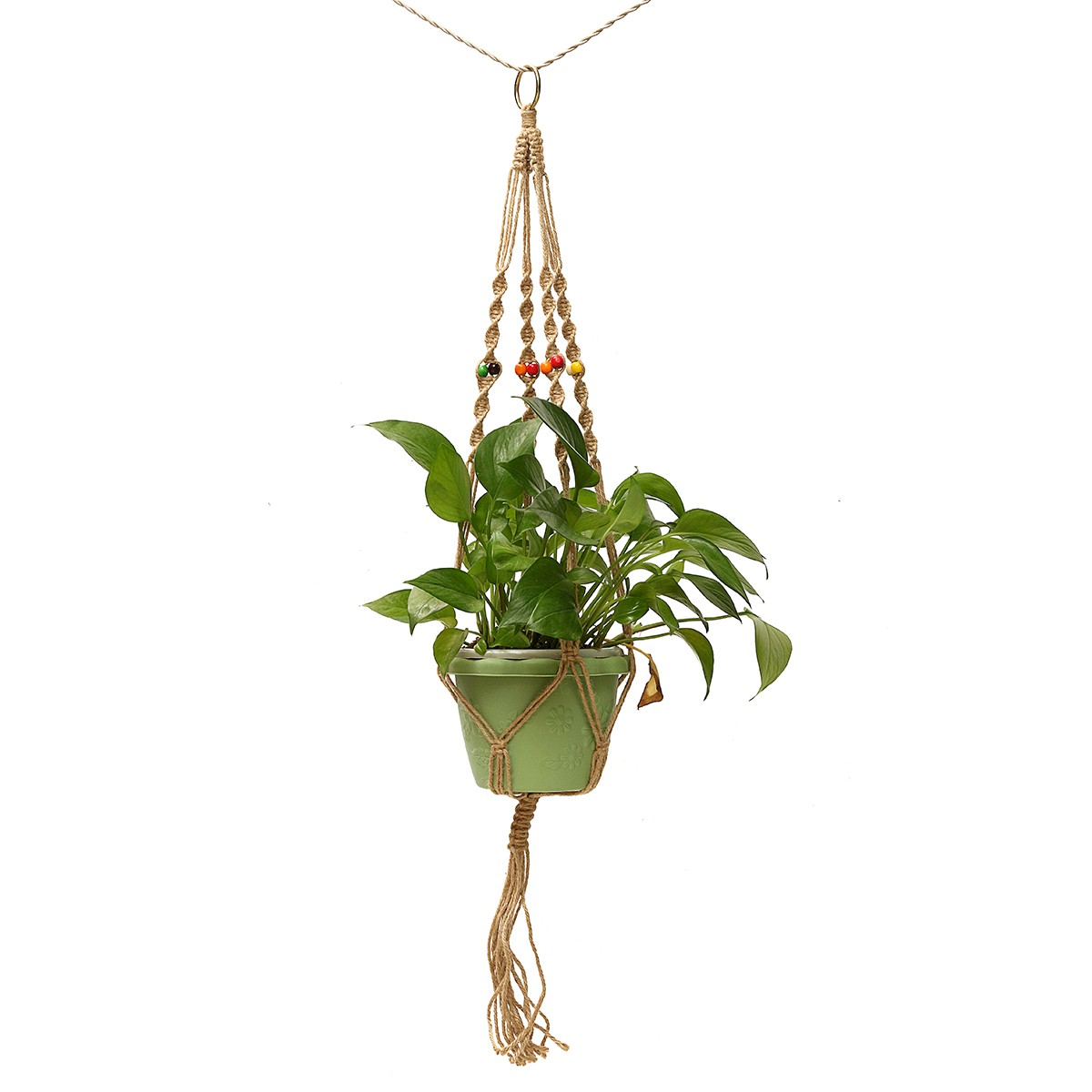 42 inch Bloempot Plant Hanger Macrame Jute Rope Indoor Outdoor Tuin Decoratieve Koord with Hook
