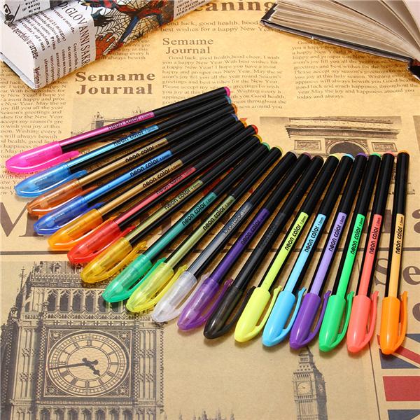 18 Pcs Color Gel Pen Set Adult Coloring Book Ink Pens D