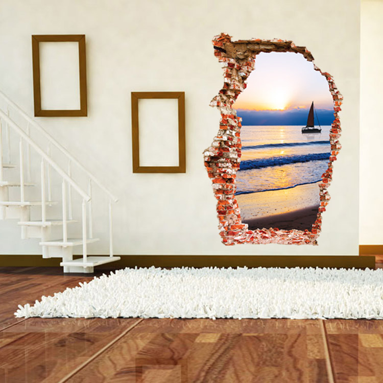 MIICO Creative 3D Sea Sunset Broken Wall Removable Home Room Decorative Wall Door Decor Sticker