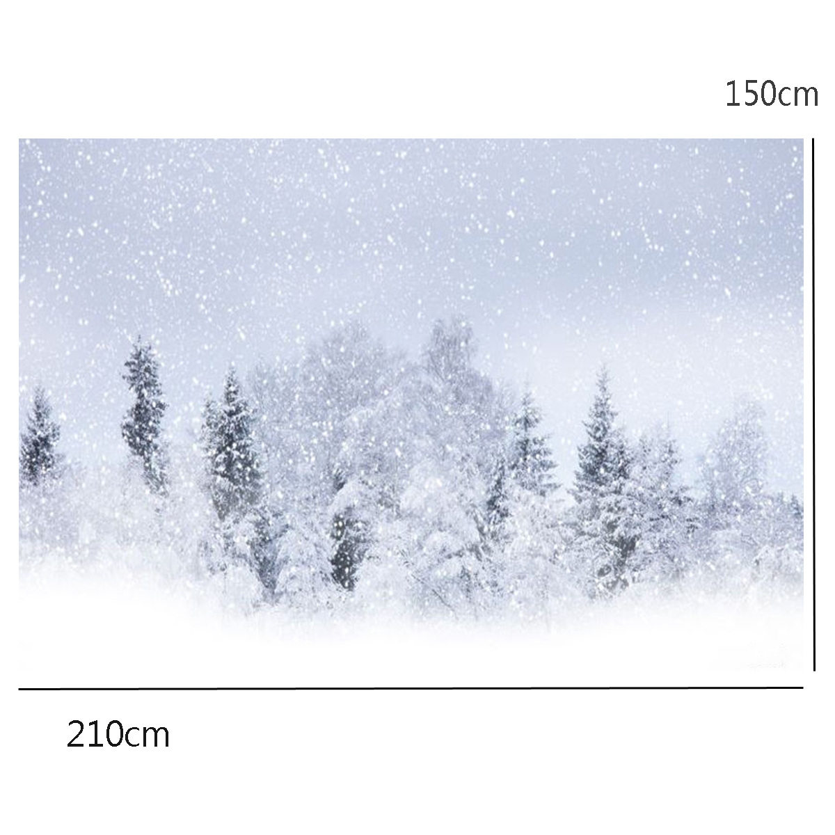 2.1x1.5m Snow Covered Forest Snow Covered Photographic Background