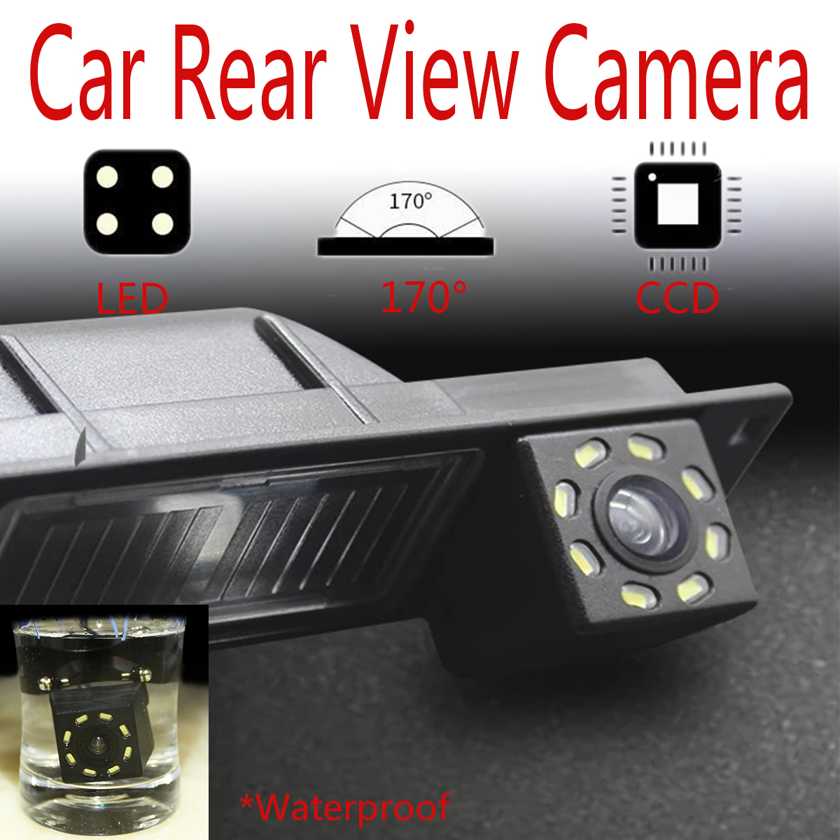 8 LED Night Vision 170 Degree Car Rear View Waterproof Reverse Backup Parking Camera