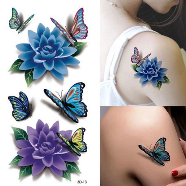 Colorful 3D Butterfly Flower Rose Tattoo Sticker Waterp