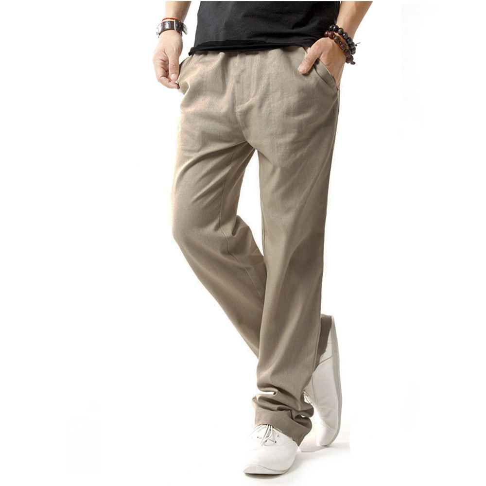 Mens Breathable Loose Cotton Linen Solid Color Pants With Drawstring