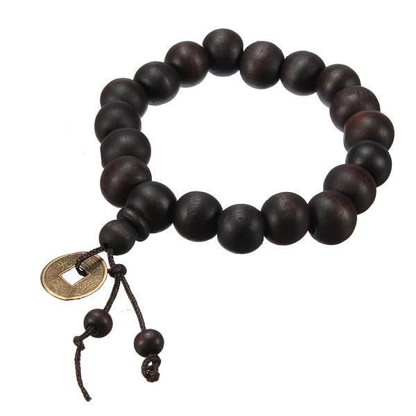 Wood Beads Coin Bracelet