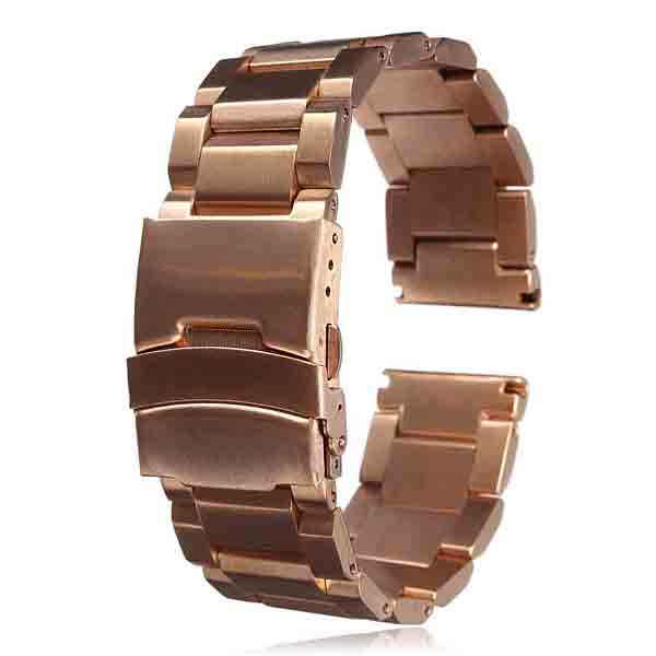 22mm Stainless Steel Strap Double Clasp Watch Band
