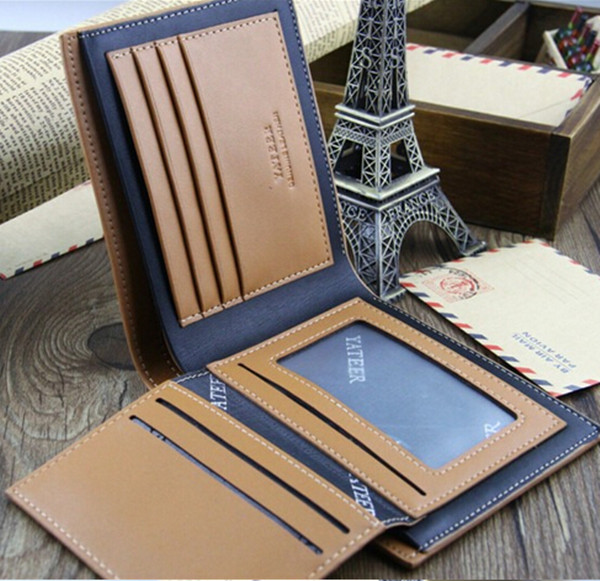 Men Leather Credit Card Holder Bifold Short Clutch Handbag Purse Wallet