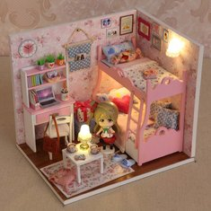 Cuteroom DIY Wooden Dollhouse Mood of Love Handmade Decorations Model with Doll