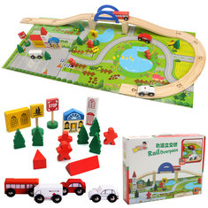 Christmas Wooden City Overpass Rail Car Assembling Building Block Toys Kids Children Gift Present