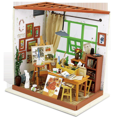 Robotime Adas Studio Diy Miniature Wooden Doll House Furniture Toys Handmade Model Kit Studio DollHouse