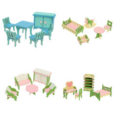 Wooden DIY Three-dimensional Jigsaw Puzzle Dollhouse Set Furniture For Barbie