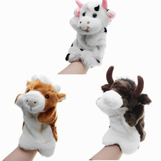 27CM Stuffed Animal Cow Hand Puppet Classic Children Figure Puppet Toys Plush