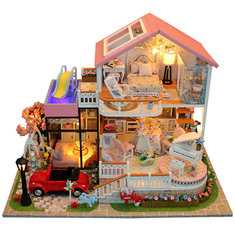 DIY Wooden Miniatures Pink Villa Dollhouse Furniture LED Kit Child Toys Gift