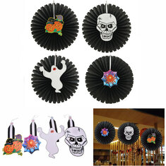 Halloween Paper Fan Wall Hanging Decoration Party Home Decor Gifts Ghost Pumpkin
