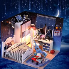 Hoomeda DIY Wood Star Room With LED+Furniture+Cover Dollhouse