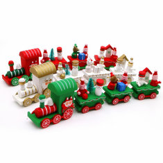 Christmas Party Home Decoration Multicolor Wooden Trains 4 Knots Toys Props For Kids Children Gift