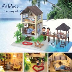 Cuteroom DIY Handmade Maldives Wooden Doll House LED light Toy Birthday Gift