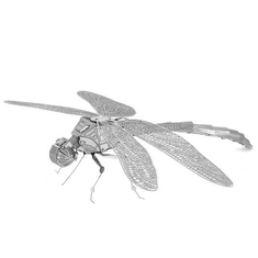 Aipin DIY 3D Puzzle Stainless Steel Model Dragonfly Silver Color