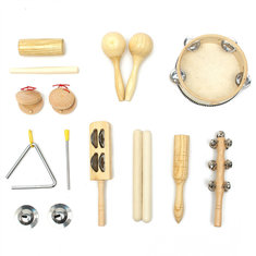 10pcs Percussion Set Wooden Kid Children Toddler Musical Instrument Toys Band Kit