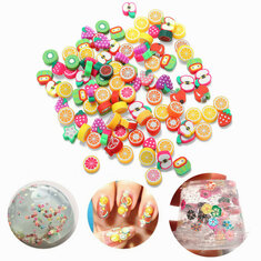 100PCS DIY Slime Accessories Decor Fruit Cake Flower Polymer Clay Toy Nail Beauty Ornament